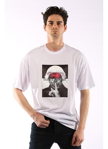 Rodrigo 3857 Kask Baskı Oversize Erkek T-Shirt Beyaz